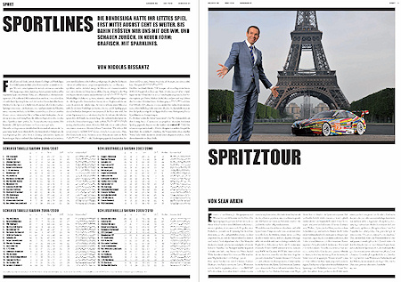 """Traffic News-to-go, June edition in 2010. Page 6: Article on """"Sportlines"""" on Sparklines in sports reporting, page 7: Article """"Spritztour"""" about Jeff Koons."""