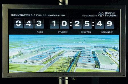 Countdown im Besucherzentrum des Flughafen Berlin-Brandenburg. Quelle: FAZ, 24.05.2012, Seite 3.