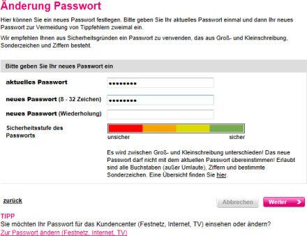 Änderung Passwort/Sicherheitsstufe des Passworts. Quelle: t-mobile.de.