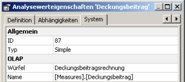 Registerkarte System in den Analysewerteigenschaften