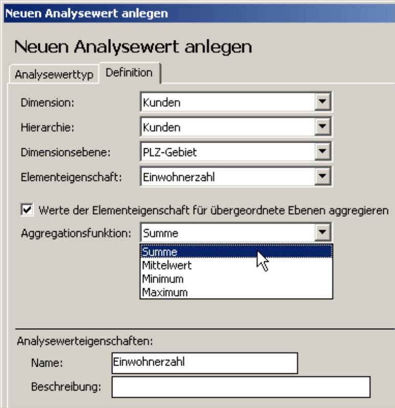 Festlegung der Aggregationsfunktion (Summe, Mittelwert, Minimum oder Maximum) auf der Registerkarte Definition