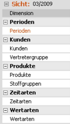 Zuordnung der Dimensionen zur entsprechenden Gruppe (Perioden zu Perioden; Kunden und Vertretergruppe zu Kunden; Produkte und Stoffgruppen zu Produkte; Zeitarten zu Zeitarten und Wertarten zu Wertarten)