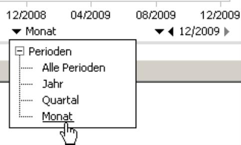 Auswahl für die Perioden: Alle Perioden, Jahr, Quartal, Monat