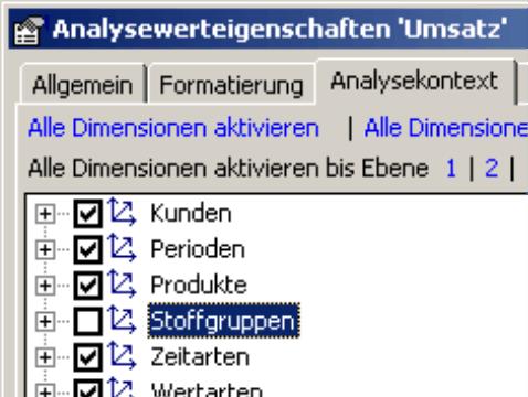 Registerkarte Analysekontext in den Analysewerteigenschaften