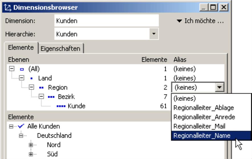 Auswahl (keines), Regionalleiter Ablage, Regionalleiter Anrede, Regionalleiter Mail und Regionalleiter Name auf der Registerkarte Elemente