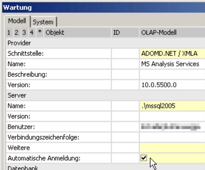 Kontrollkästchen für die automatische Anmeldung im Menü Modell