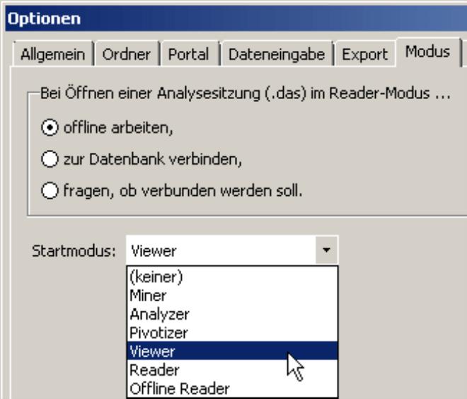 Einstellung des Startmodus (Miner, Analyzer, Pivotizer, Viewer, Reader oder Offline Reader) auf der Registerkarte Modus