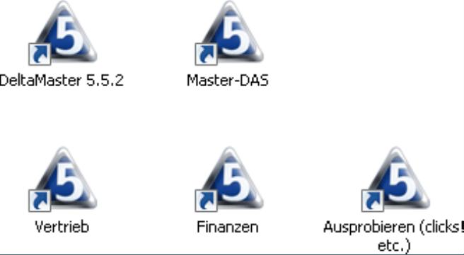 Verknüpfungen auf dem Desktop für das Öffnen einer Analysesitzung