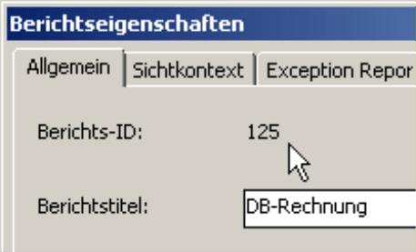 Berichts-ID und Berichtstitel auf der Registerkarte Allgemein in den Berichtseigenschaften
