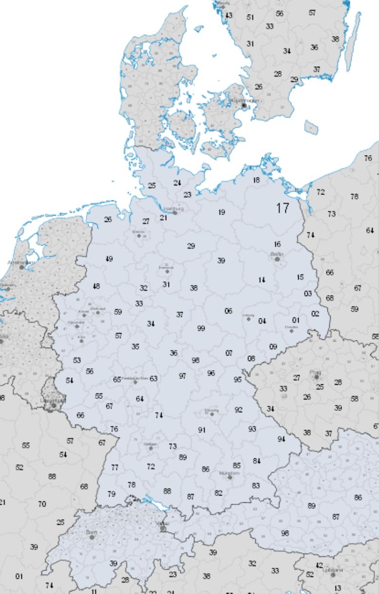 Mögliche Einteilung einer Karte für die Geo-Analyse